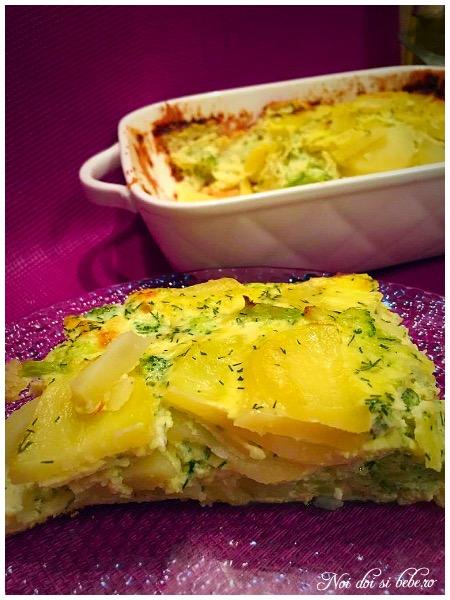 Budinca de cartofi cu broccoli