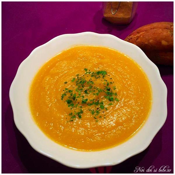 Supa crema cartof dulce si conopida